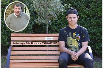 A young person created a memorial bench for Peter Richardson