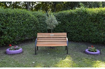 A memorial bench for Peter located at Locke Park, Redcar